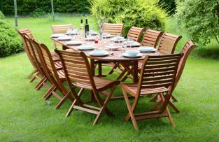 "Monkfin ""Stamford"" Hardwood 12 Seater Oval Extendable Garden Furniture Set"