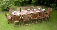 "Monkfin ""Rockford"" Hardwood 12 Seater Oval Extendable Garden Furniture Set"