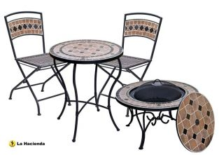 Pompei Foldable Ceramic Garden Bistro Set