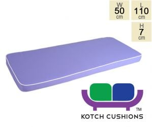 Deluxe Cushion for 1.2m Bench in Lilac by Kotch - 7cm Thick