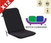 Set of 12 Standard Folding Chair Cushions in Black by Kotch - 4cm Thick