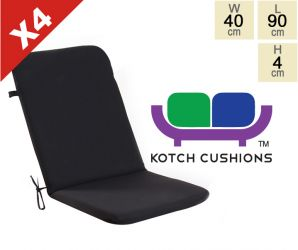 Set of 4 Standard Folding Chair Cushions in Black by Kotch - 4cm Thick