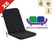 Set of 6 Standard Folding Chair Cushions in Black by Kotch - 4cm Thick