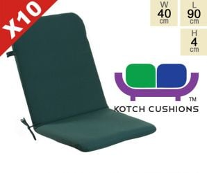 Set of 10 Standard Folding Chair Cushions in Green by Kotch - 4cm Thick
