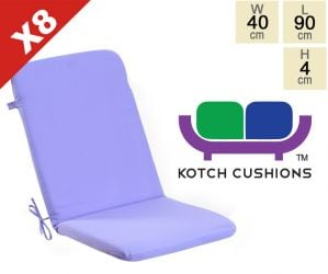 Set of 8 Standard Folding Chair Cushions in Lilac by Kotch - 4cm Thick