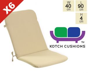 Set of 6 Standard Folding Chair Cushions in Taupe by Kotch - 4cm Thick