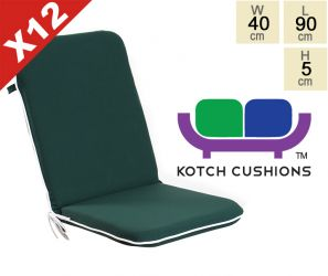 Set of 12 Premium Folding Chair Cushions in Green by Kotch - 5cm Thick