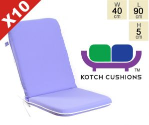 Set of 10 Premium Folding Chair Cushions in Lilac by Kotch - 5cm Thick