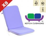 Set of 8 Premium Folding Chair Cushions in Lilac by Kotch - 5cm Thick
