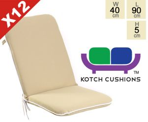 Set of 12 Premium Folding Chair Cushions in Taupe by Kotch - 5cm Thick