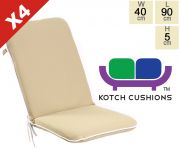 Set of 4 Premium Folding Chair Cushions in Taupe by Kotch - 5cm Thick