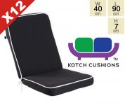 Set of 12 Deluxe Folding Chair Cushions in Black by Kotch - 7cm Thick