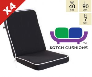 Set of 4 Deluxe Folding Chair Cushions in Black by Kotch - 7cm Thick