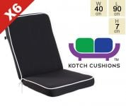 Set of 6 Deluxe Folding Chair Cushions in Black by Kotch - 7cm Thick