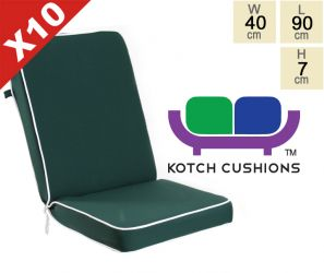 Set of 10 Deluxe Folding Chair Cushions in Green by Kotch - 7cm Thick
