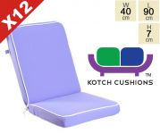 Set of 12 Deluxe Folding Chair Cushions in Lilac by Kotch - 7cm Thick