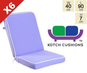 Set of 6 Deluxe Folding Chair Cushions in Lilac by Kotch - 7cm Thick