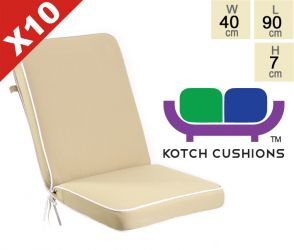 Set of 10 Deluxe Folding Chair Cushions in Taupe by Kotch - 7cm Thick