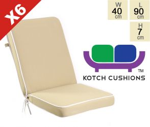 Set of 6 Deluxe Folding Chair Cushions in Taupe by Kotch - 7cm Thick
