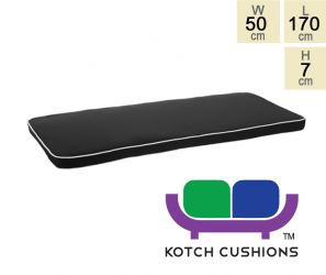 Deluxe Cushion for 1.8m Bench in Black by Kotch - 7cm Thick