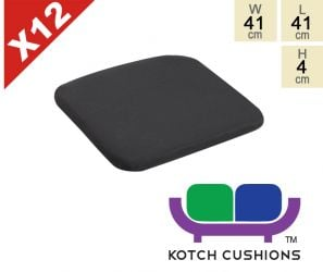 Set of 12 Standard Chair Cushions in Black by Kotch - 4cm Thick