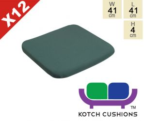 Set of 12 Standard Chair Cushions in Green by Kotch - 4cm Thick