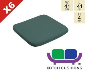Set of 6 Standard Chair Cushions in Green by Kotch - 4cm Thick