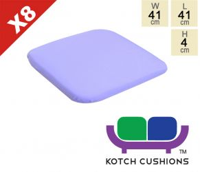 Set of 8 Standard Chair Cushions in Lilac by Kotch - 4cm Thick