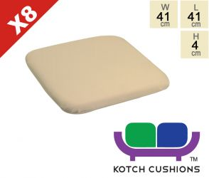 Set of 8 Standard Chair Cushions in Taupe by Kotch - 4cm Thick