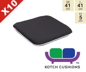 Set of 10 Premium Chair Cushions in Black by Kotch - 5cm Thick