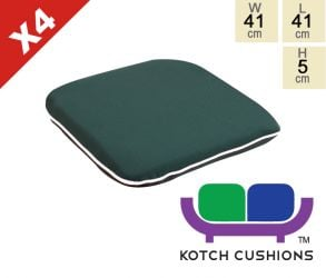 Set of 4 Premium Chair Cushions in Green by Kotch - 5cm Thick