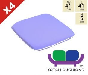 Set of 4 Premium Chair Cushions in Lilac by Kotch - 5cm Thick