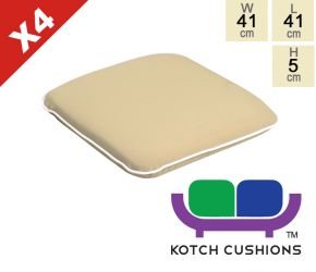 Set of 4 Premium Chair Cushions in Taupe by Kotch - 5cm Thick