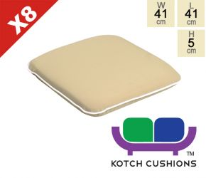 Set of 8 Premium Chair Cushions in Taupe by Kotch - 5cm Thick