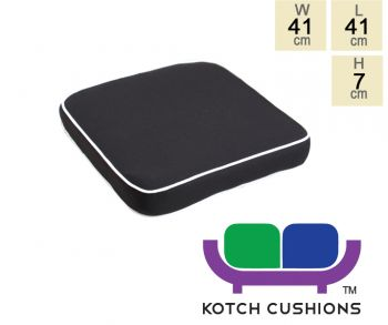 Deluxe Chair Cushion in Black by Kotch - 7cm Thick