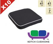 Set of 10 Deluxe Chair Cushions in Black by Kotch - 7cm Thick