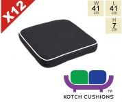 Set of 12 Deluxe Chair Cushions in Black by Kotch - 7cm Thick