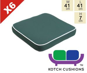 Set of 6 Deluxe Chair Cushions in Green by Kotch - 7cm Thick