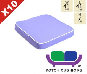 Set of 10 Deluxe Chair Cushions in Lilac by Kotch - 7cm Thick