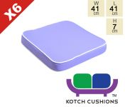 Set of 6 Deluxe Chair Cushions in Lilac by Kotch - 7cm Thick
