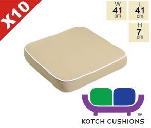 Set of 10 Deluxe Chair Cushions in Taupe by Kotch - 7cm Thick