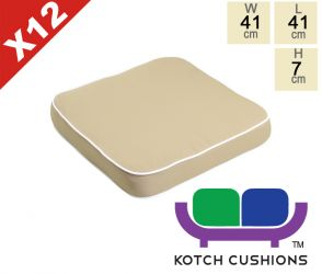 Set of 12 Deluxe Chair Cushions in Taupe by Kotch - 7cm Thick