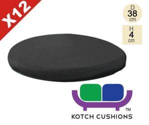 Set of 12 Standard Round Chair Cushions in Black by Kotch - 4cm Thick