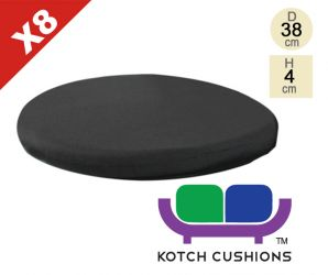 Set of 8 Standard Round Chair Cushions in Black by Kotch - 4cm Thick