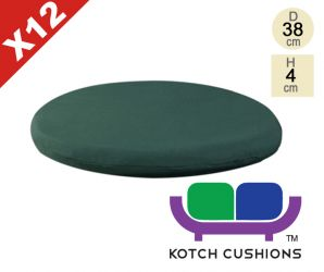 Set of 12 Standard Round Chair Cushions in Green by Kotch - 4cm Thick