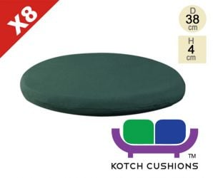 Set of 8 Standard Round Chair Cushions in Green by Kotch - 4cm Thick