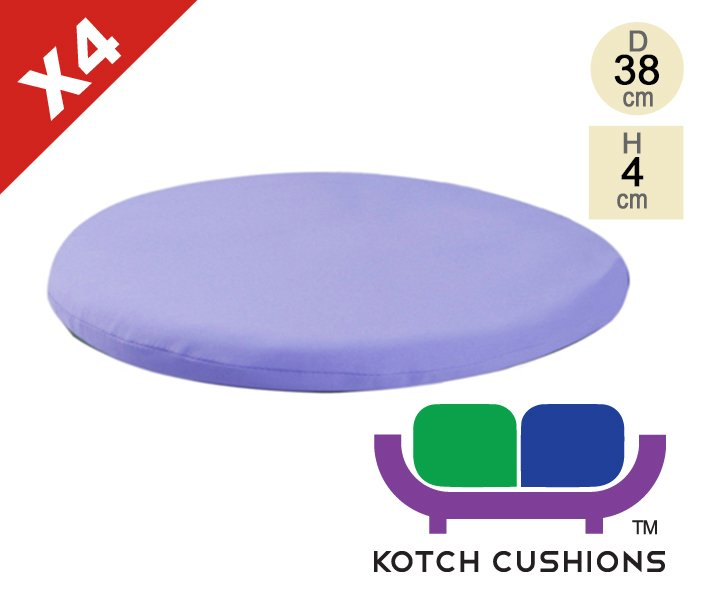 Set of 4 Standard Round Chair Cushions in Lilac by Kotch - 4cm Thick
