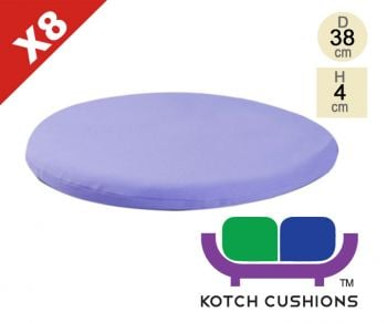 Set of 8 Standard Round Chair Cushions in Lilac by Kotch - 4cm Thick