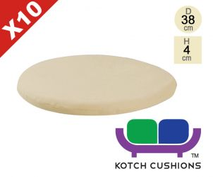 Set of 10 Standard Round Chair Cushions in Taupe by Kotch - 4cm Thick