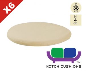 Set of 6 Standard Round Chair Cushions in Taupe by Kotch - 4cm Thick